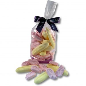shrimp and banana sweets in cello bag with ribbon