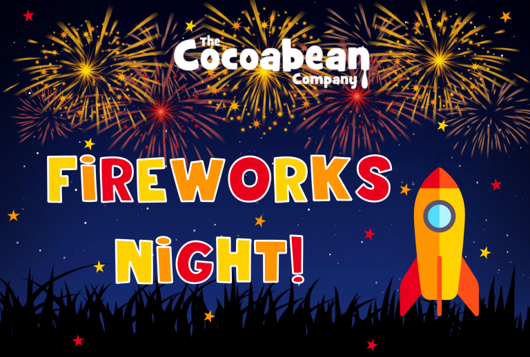 "dark starry sky with fireworks and rocket and text ""cocoabean company fireworks night"""