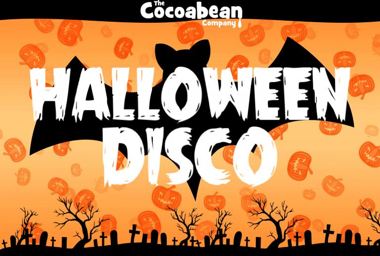 orange pumpkin background white text halloween disco cocoabean