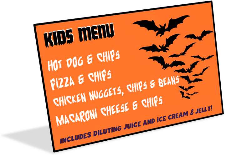 3D halloween disco kids menu