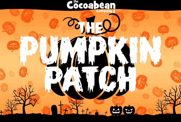 orange pumpkin background white text the cocoabean pumpkin patch