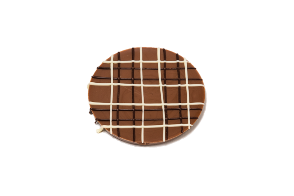 milk chocolate disc with coloured chocolate tartan pattern