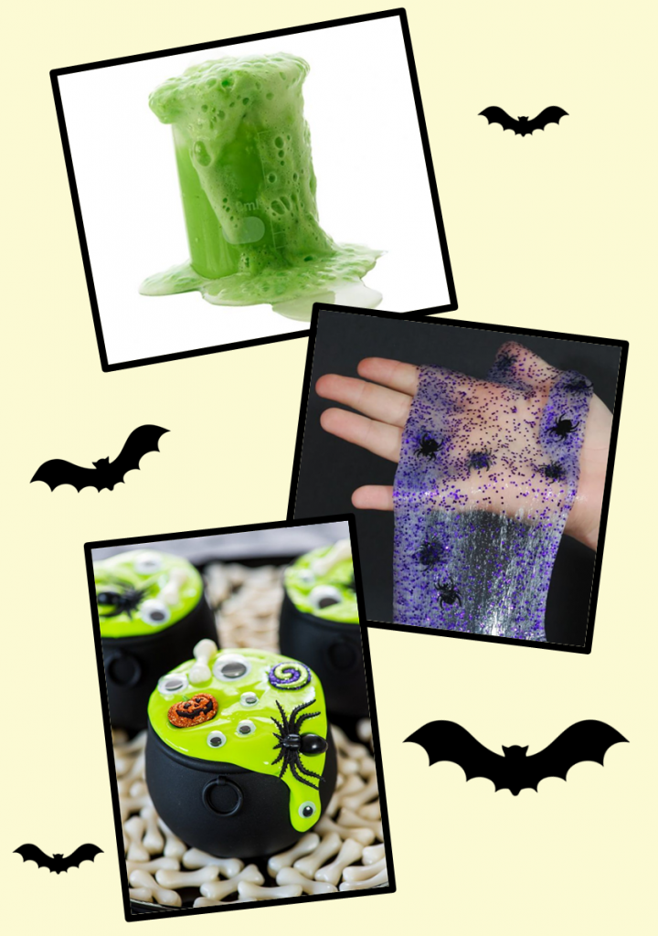 bubbling slime, purple slime with spiders, green slime in cauldron