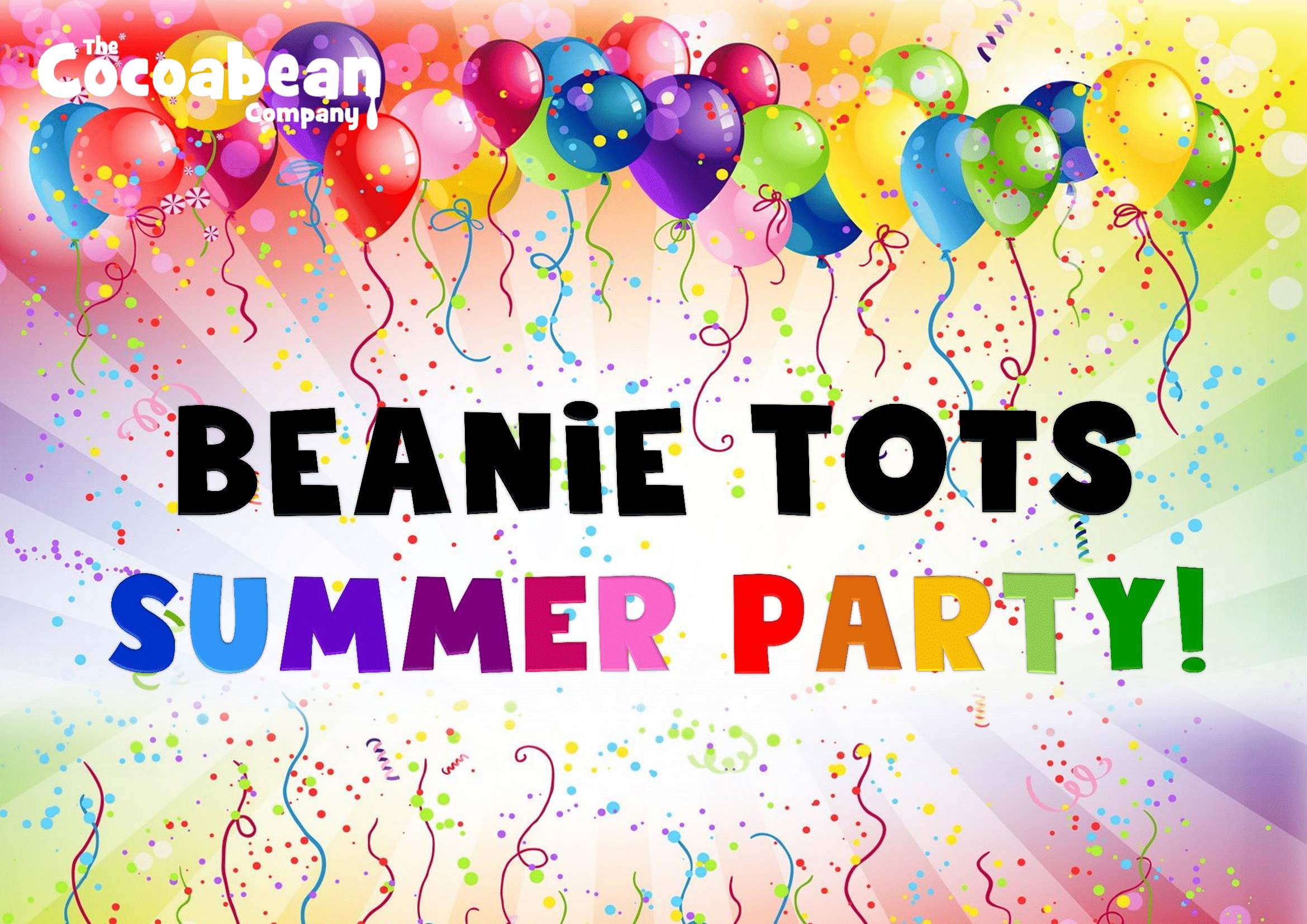 beanie tots summer party rainbow colours and balloons
