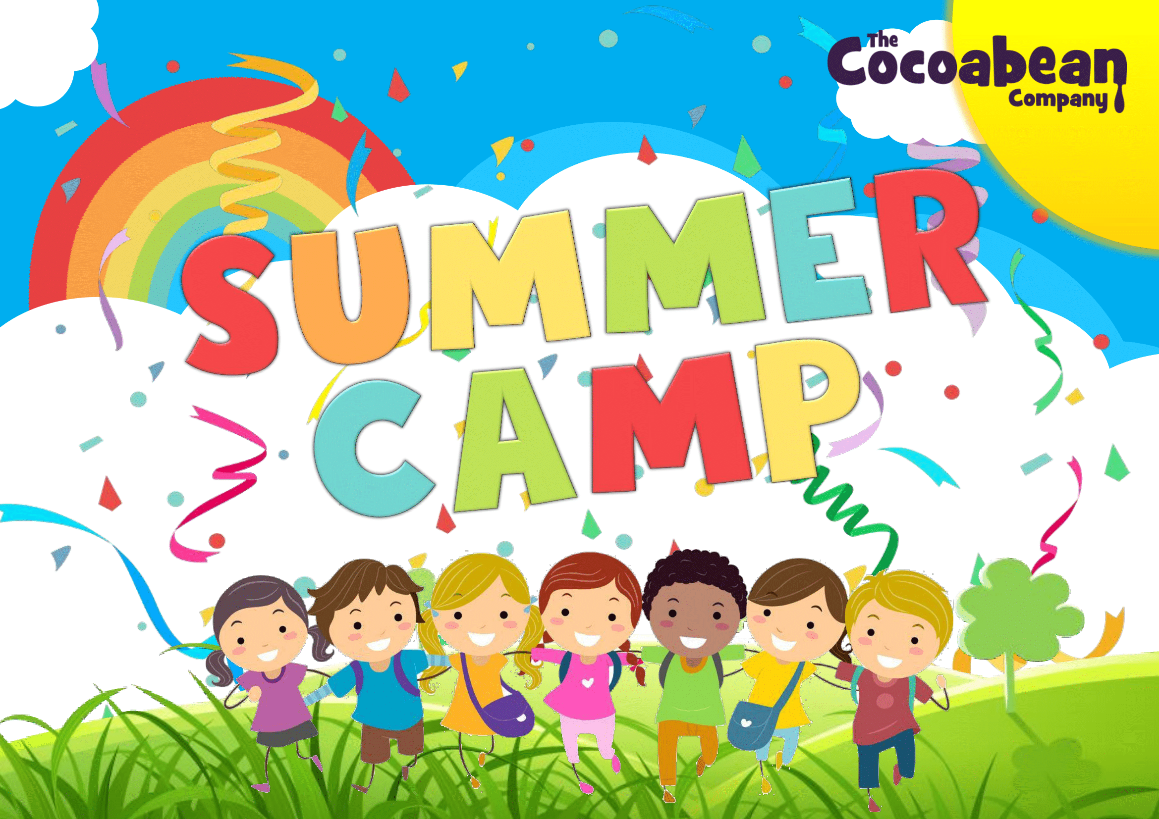colourful kids summer camp header with rainbow and sun