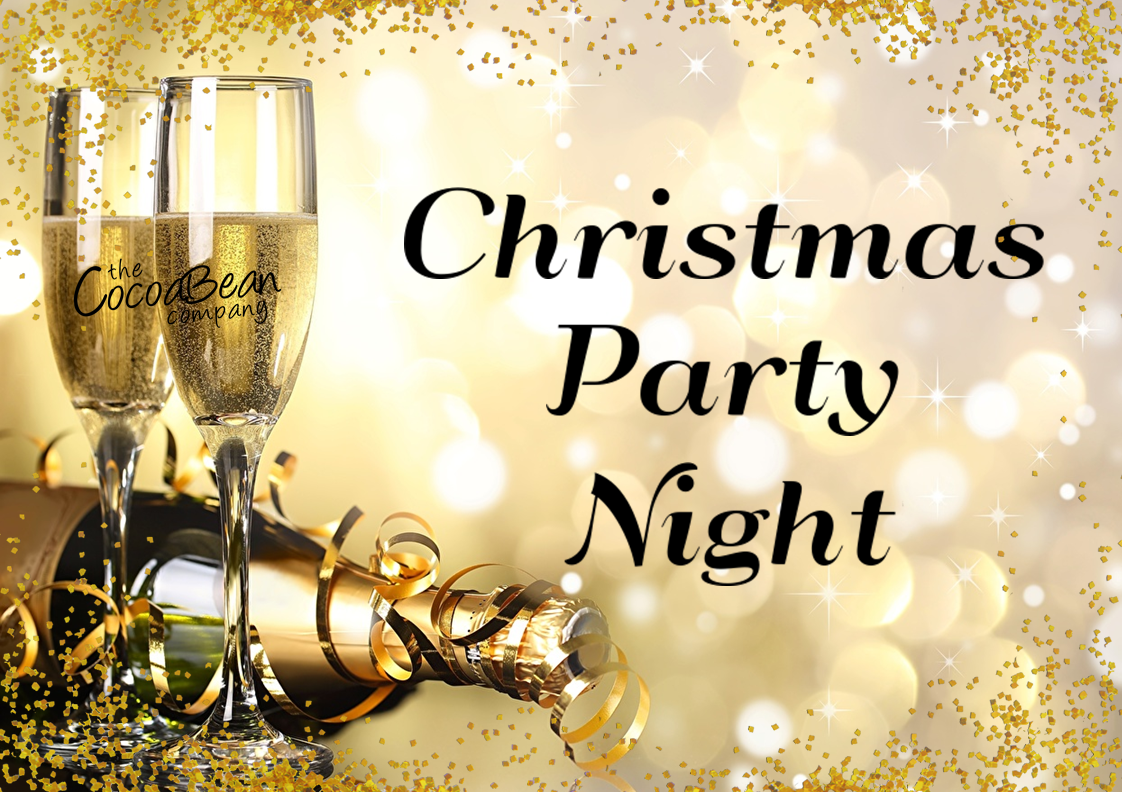 gold christmas background with champagne and flutes christmas party night