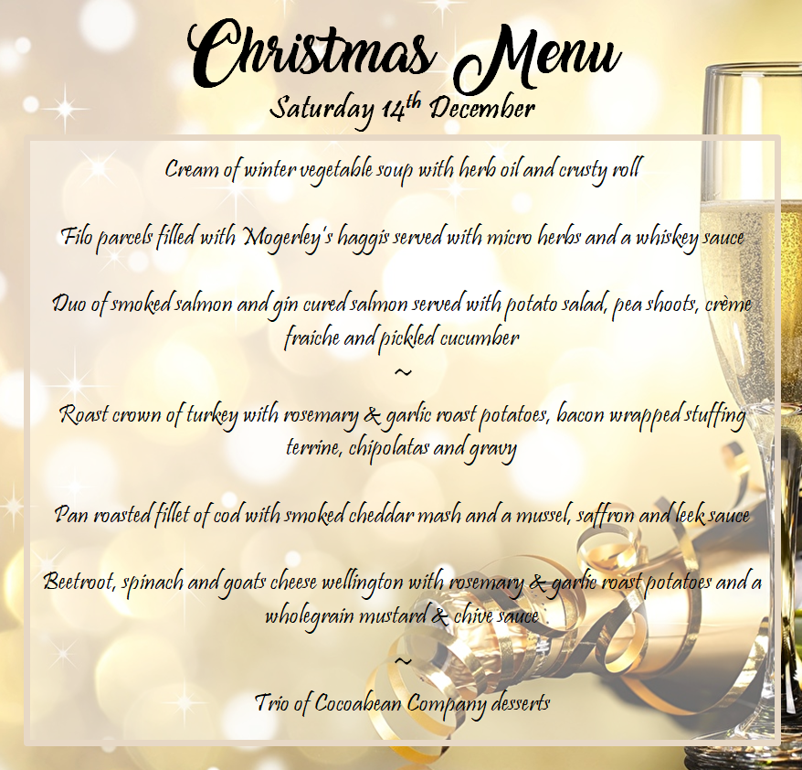 cocoabean christmas party night menu on gold background