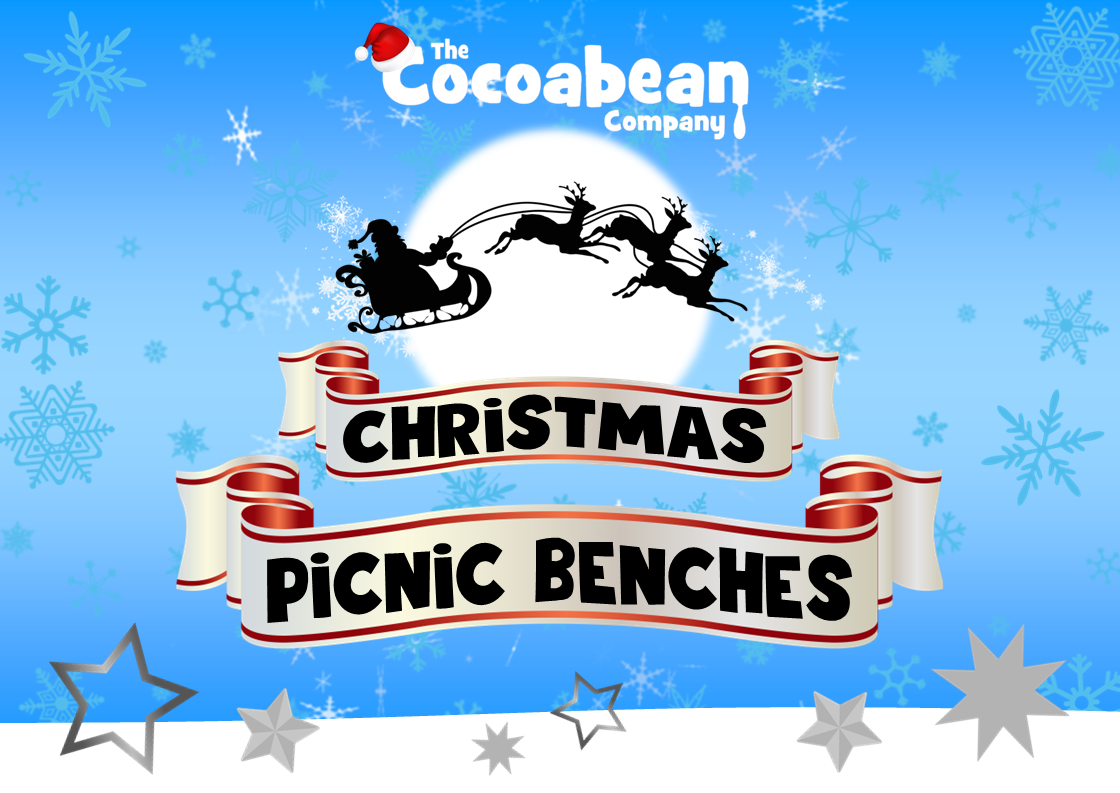 christmas picnic benches at the cocoabean company