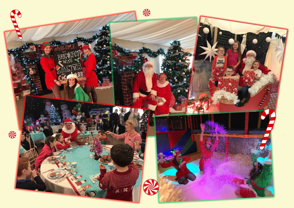 picture collage of breakfast with santa at the cocoabean company