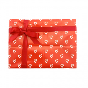 gift wrapped box of chocolates (valentines themed paper)