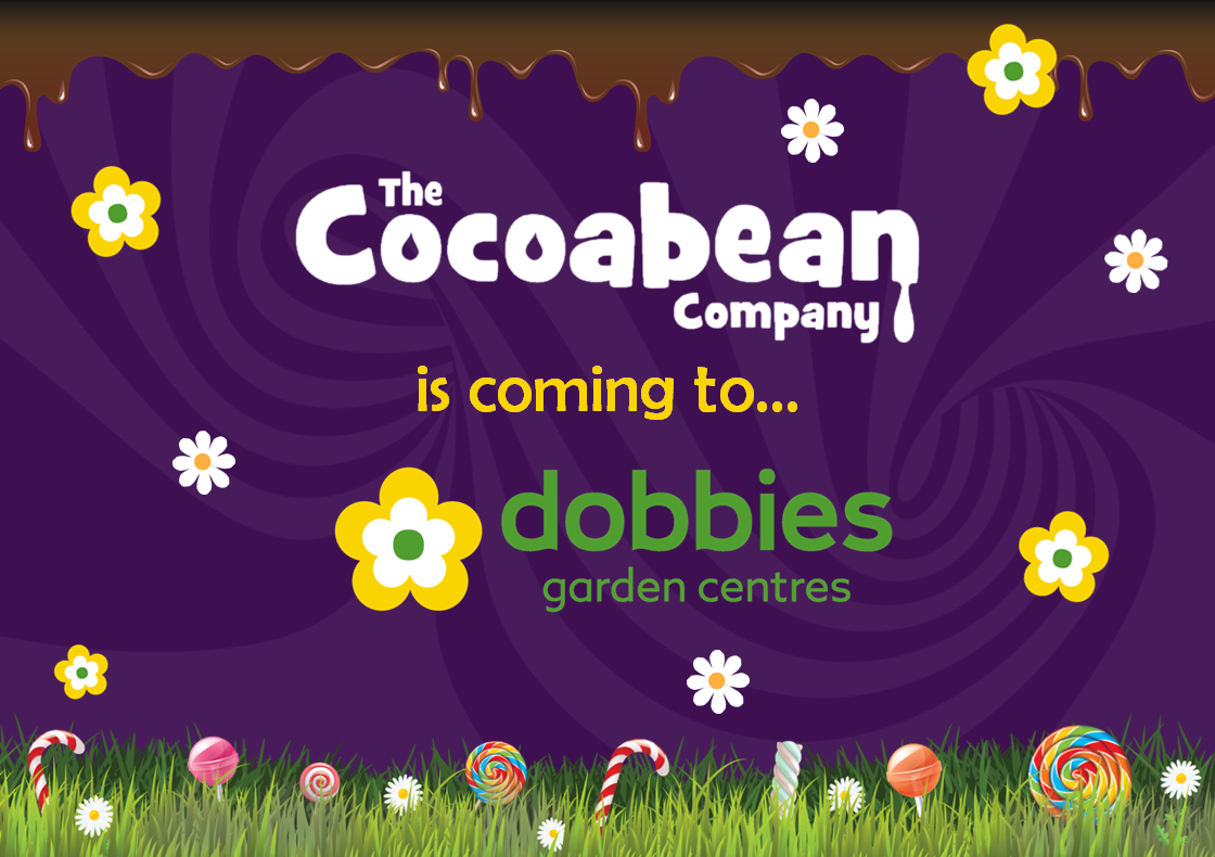 purple swirl background, cocoabean company and dobbies garden centre logo and yellow flowers
