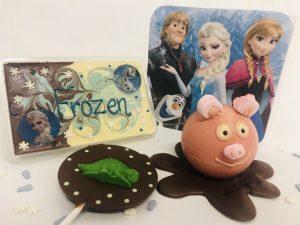 peppa pig muddy puddle, dinosaau lollipop, frozen chocolate bar