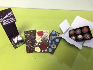 chocolate spoons stirrer, chocolate bars, six chocolate box