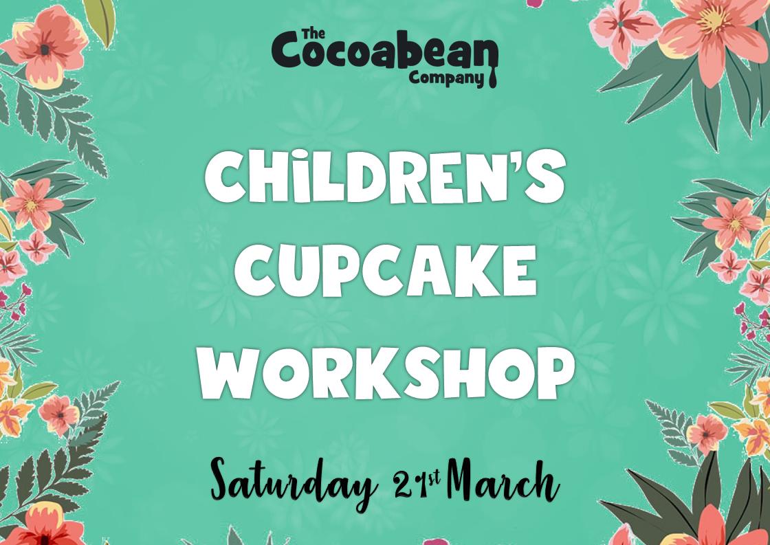 green header cupcake workshops text cocoabean logo