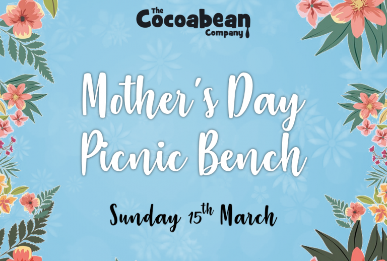 blue background mothers day picnic bench