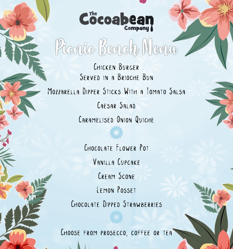 cocoabean picnic bench menu twynholm blue and flower themed