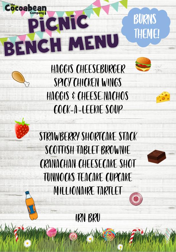 burns theme picnic bench menu