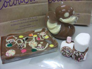cocoabean chocolate slab, chocolate duck shakey shape, marshamallow train