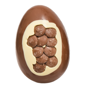milk chocolate egg with MILK BUTTON Inclusion cocoabean
