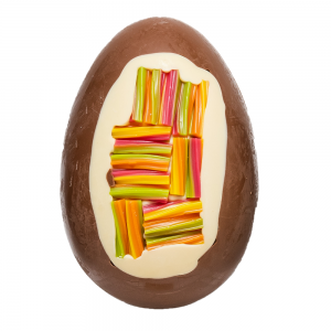 milk chocolate egg with rainbow twist inclusion cocoabean