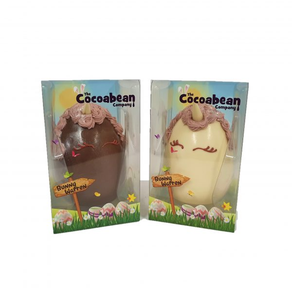 milk and white chocolate unicorn easter egg cocoabean