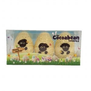 trio of white chocolate sheep easter eggs cocoabean