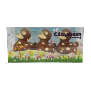 trio of chocolate ducks with white chocolate spots