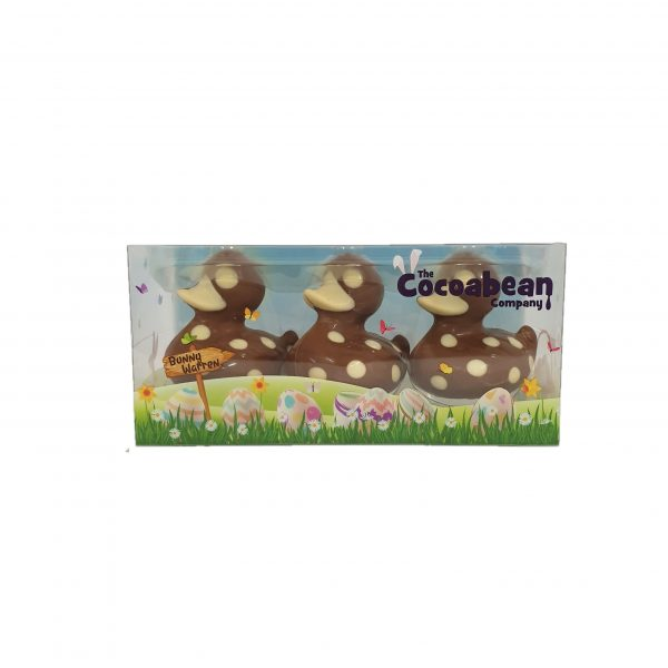 trio of milk chocolate ducks with spotty decoration cocoabean