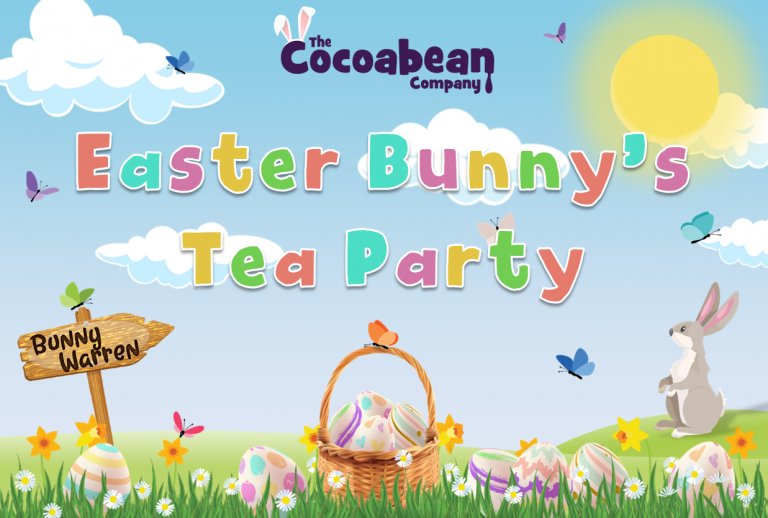 spring themed scene easter bunny tea party with butterfly decorations