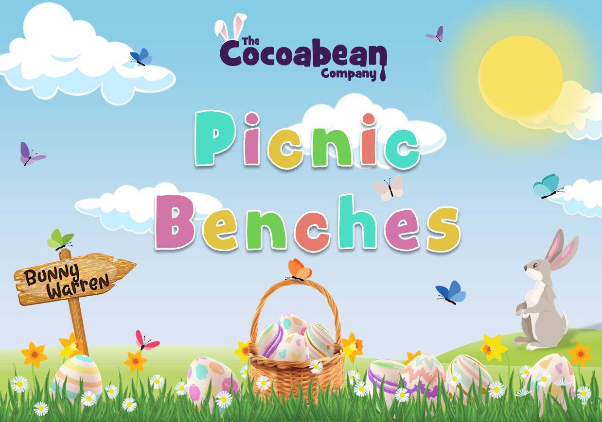 spring themed scene picnic benches with butterfly decorations