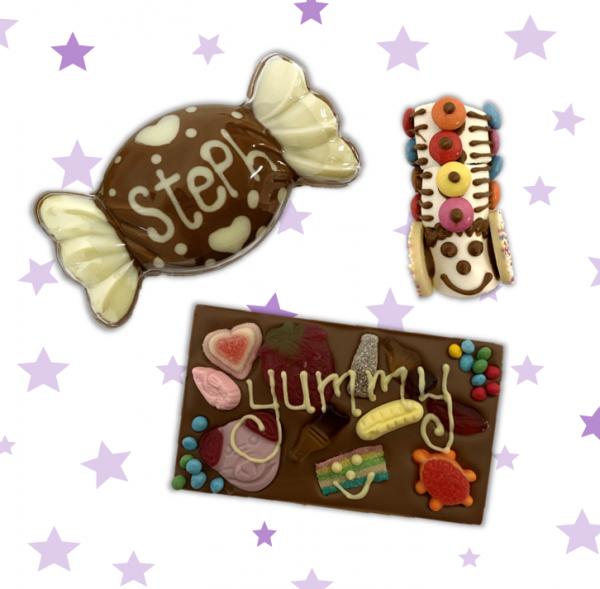 cocoabean company full workshop kit three items, shakey shape, chocolate bar and marshmallow creation