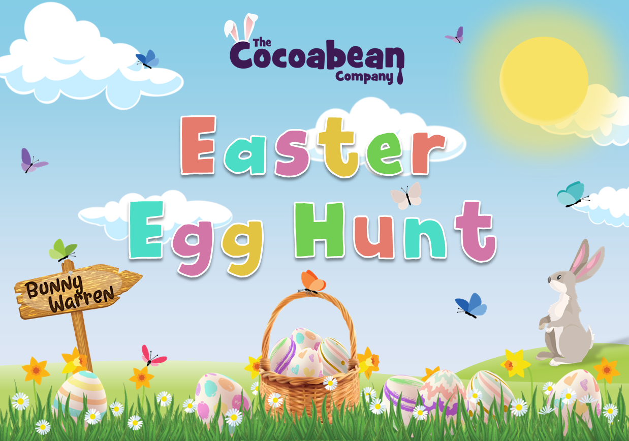 spring themed scene easter egg hunt with butterfly decorations