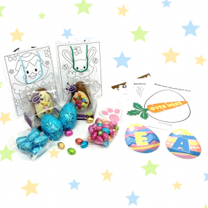 easter egg hunt for 2 with chocolate eggs, arrows and puzzles