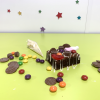 decorated brownie and scattered sweets