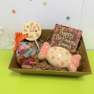 kids chocolate celebration hamper with sweet shape