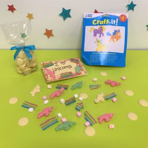 chocolate bar and sand art unicorn theme