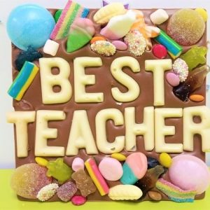 choc slab and sweets with best teacher letters