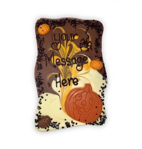 milk and white chocolate halloween slab personalised