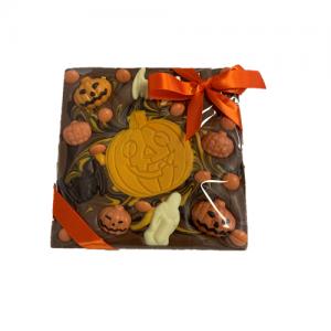 chunky chocolate slab with pumpkin decoration