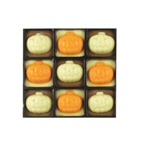 9 chocolate with pumpkin decoration