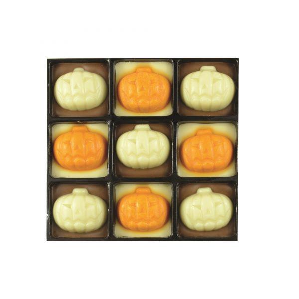 9 chocolate with pumpkin decoration