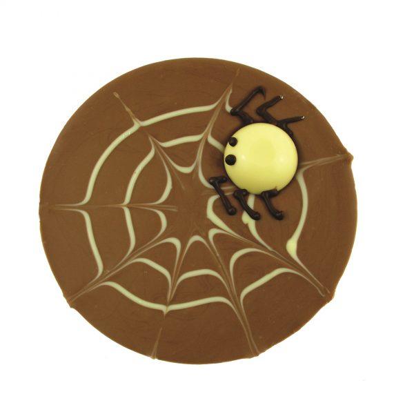 milk chocolate spider web with spider