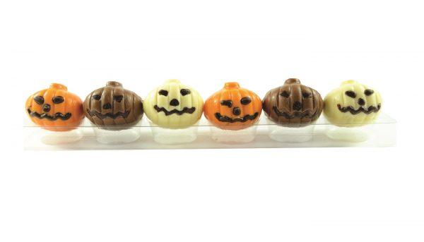 six assorted colour chocolate pumpkins