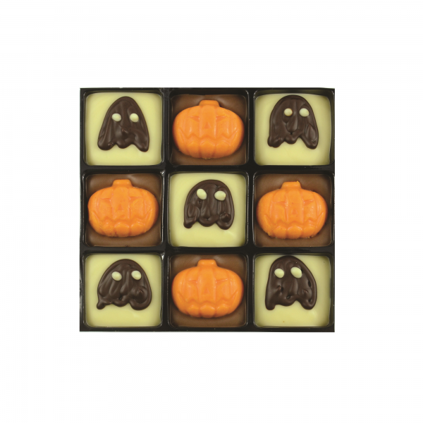 9 chocolates with ghost and pumpkin decorations
