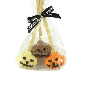 three chocolate pumpkin spoon stirrers for hot chocolate