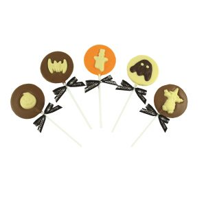 assorted chocolate lollipops with halloween decoration
