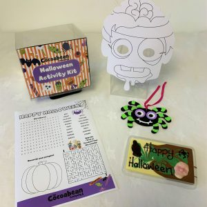 cocoabean halloween activity kit with mask, puzzle &chocolate bar