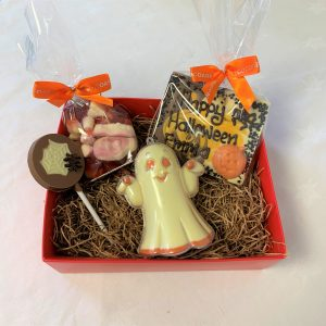 chocolate halloween hamper with ghost, lollipop, sweets and personalised chocolate bar