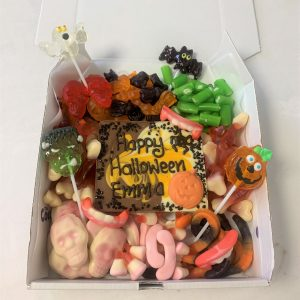 halloween themed sweetie box & & personalised chocolate slab