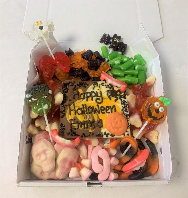 halloween themed sweetie box & & personalised chocolate slab